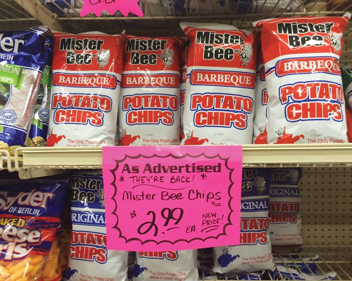 Mister Bee Potato Chips displayed on a store's shelf