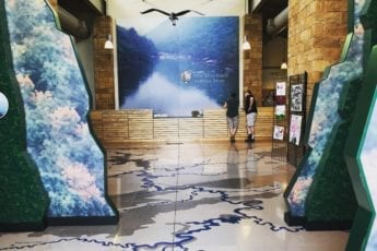 Inside of Sandstone rest stop with marble floors and beautiful scenery.