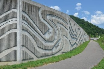 concrete wall with intricate design