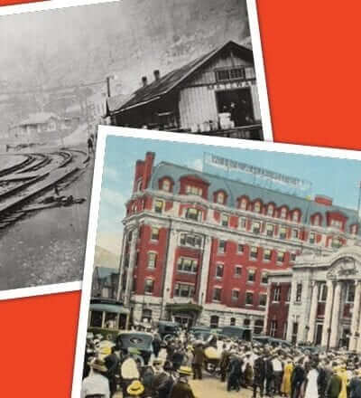 Two photographs on a red background. The first image is of train tracks through a town; the second is of a brick building with an American Flag posted on the roof.