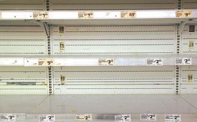 straight on view of empty store shelves